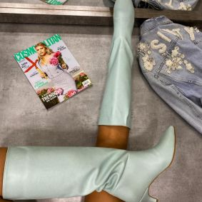 KNEE HIGH SPIKE BOOTS WITH THIN HEEL - MINT