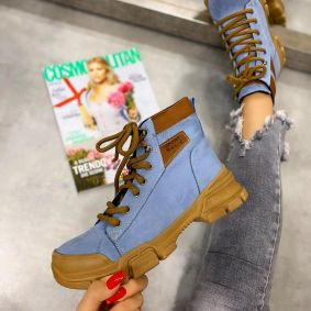 SPORTS LACE UP ANKLE BOOTS - BLUE