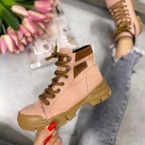 SPORT LACE UP ANKLE BOOTS - ROSE