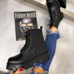 MARTIN BOOTS WITH HIGH SOLE - BLACK
