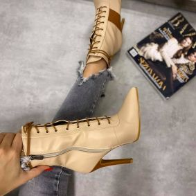 POINTED LACE UP ANKLE BOOTS WITH THIN HEEL - BEIGE/CAMEL