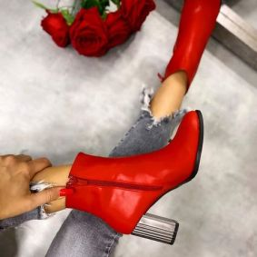 ANKLE BOOTS WITH SILVER BLOCK HEEL - RED