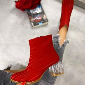 ANKLE BOOTS WITH CLEAR BLOCK HEEL - RED