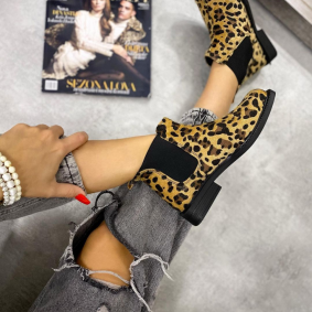 LEOPARD FLAT ANKLE BOOTS WITH RUBBER