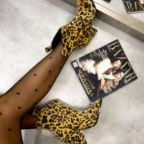 LEOPARD ANKLE BOOTS WITH BLOCK HEEL