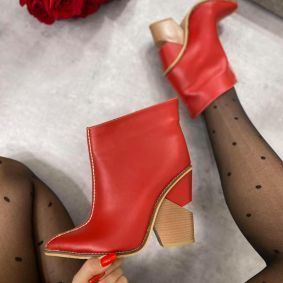 POINTED ANKLE BOOTS WITH THICK HEEL - RED