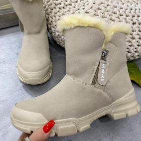 VELOUR SNOW BOOTS WITH FUR AND ZIPPER - BEIGE