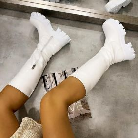 PATENT HIGH BOOTS WITH SPORT SOLE - WHITE