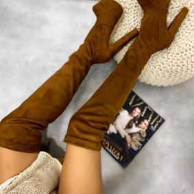 VELOUR THIGH - HIGH BOOTS WITH PLATFORM AND BLOCK HEEL - CAMEL