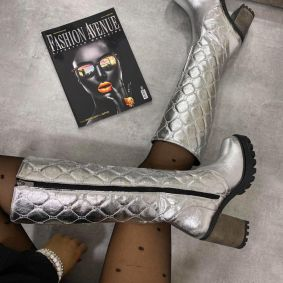 SAW HIGH BOOTS WITH BLOCK HEEL - SILVER