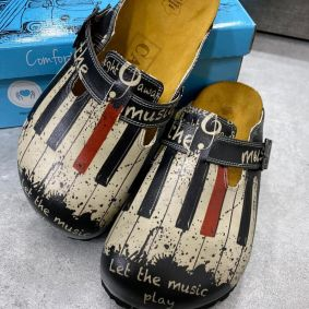 LET THE MUSIC PLAY LEATHER CLOGS WITH BELT - BLACK