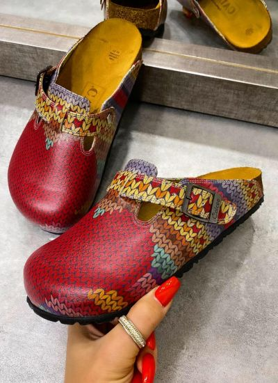HEART COLORFUL LEATHER CLOGS WITH BELT