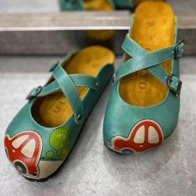 EMPEROR LEATHER CLOGS WITH BELTS - GREEN