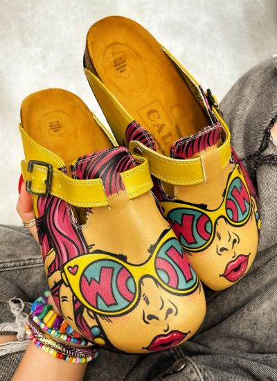 WOW LEATHER CLOGS WITH BELT - YELLOW