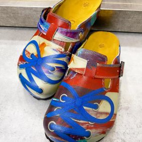 COLOURFUL LEATHER CLOGS WITH BELT