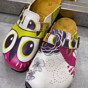 NEON COLORFUL LEATHER CLOGS WITH OWL