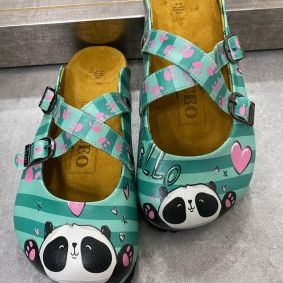 LEATHER CLOGS PANDA - GREEN