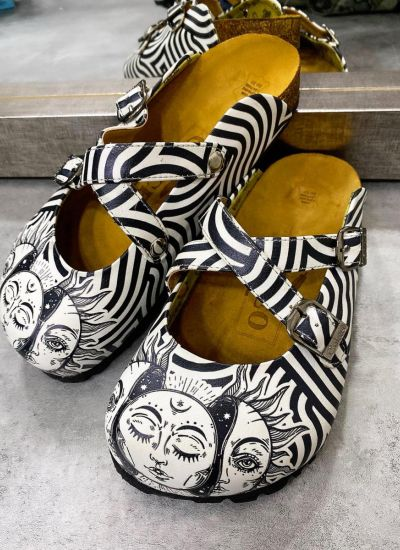 MOON AND SUN STRIPED LEATHER CLOGS WITH BELTS - BLACK/WHITE