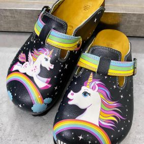 UNICORN LEATHER CLOGS WITH BELTS - BLACK