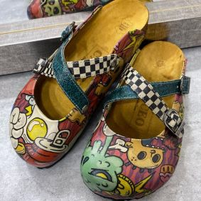 MONSTER COLORFUL LEATHER CLOGS WITH BELTS