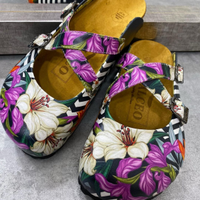 STRIPED LEATHER CLOGS WITH FLOWER AND BELT - BLACK/WHITE/PURPLE