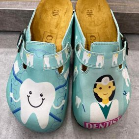 DENTIST LEATHER CLOGS WITH BELTS - MINT