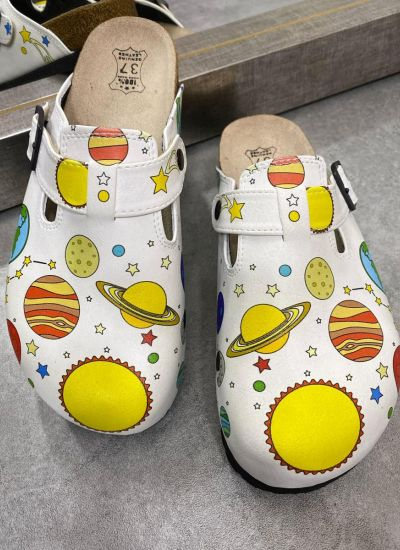 SPACE PLANETS LEATHER CLOGS WITH BELT - WHITE