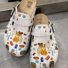 VETERINARY LEATHER CLOGS WITH BELT - WHITE