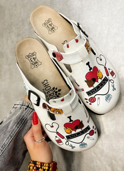 I LOVE ANIMALS LEATHER CLOGS WITH BELT - WHITE