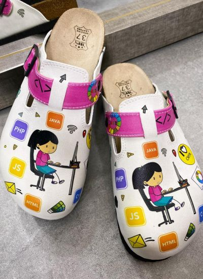 IT LEATHER CLOGS WITH BELTS - WHITE/PINK