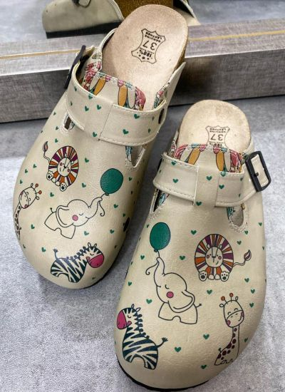 ANIMALS LEATHER CLOGS WITH BELT - BEIGE