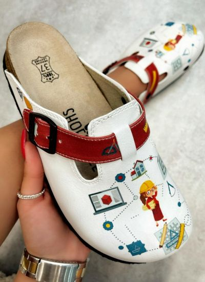 ARCHITECT AND CONSTRUCTORS LEATHER CLOGS WITH BELT - WHITE