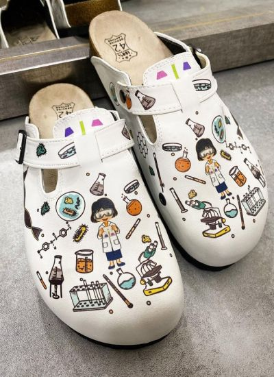 CHEMIST LEATHER CLOGS WITH BELT - WHITE