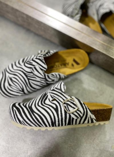 ZEBRA PRINT LEATHER CLOGS WITH BELTS