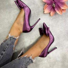 POINTED STILETTO SHOES WITH THIN HEEL AND BOW -  PURPLE