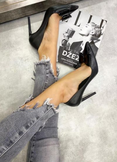 POINTED STILETTO SHOES WITH THIN HEEL AND BOW - BLACK
