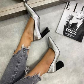 SNAKE POINTED STILETTO SHOES WITH BLOCK HEEL - SILVER
