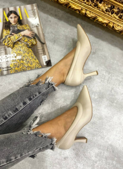 POINTED STILETTO SHOES WITH THIN HEEL - BEIGE