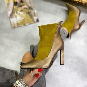 POINTED ANKLE BOOTS WITH THIN HEEL AND ZIPPER - OCHRE/GOLD
