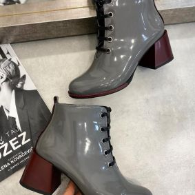 PATENT ANKLE LACE UP  BOOTS  WITH MAROON HEEL - GRAY