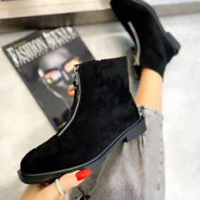 VELOUR ANKLE BOOTS WITH ZIPPER AND LOW BLOCK HEEL - BLACK