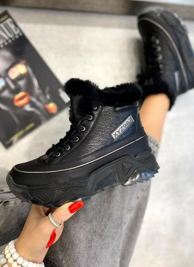 SNEAKERS WITH FUR AND HIGH SOLE - BLACK