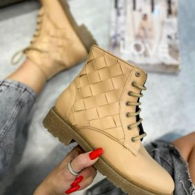 KNITTED LACE UP ANKLE BOOTS - BEIGE