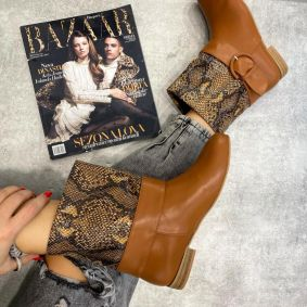 SNAKE PRINT FLAT ANKLE BOOTS WITH BELT - CAMEL