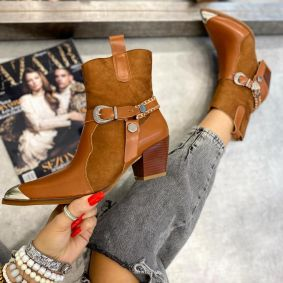 COW GIRL BOOTS WITH BELT AND THICK HEEL - CAMEL