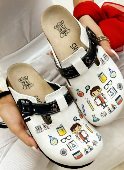 CHEMICAL LEATHER CLOGS WITH BELT - WHITE