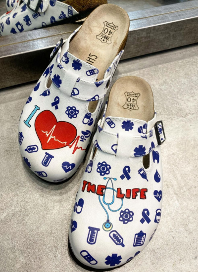 I LOVE THE LIFE LEATHER CLOGS WITH MEDICAL PRINT AND BELT - WHITE