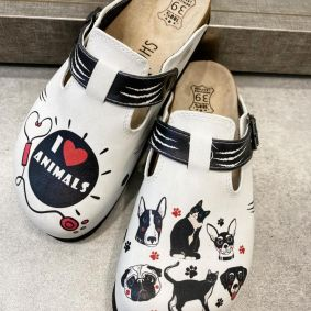 LEATHER CLOGS I LOVE ANIMALS FOR VETS - WHITE