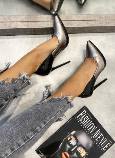 POINTED STILETTO SHOES WITH THIN HEEL - BLACK/GRAPHITE