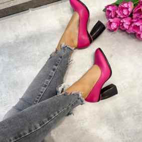 STILETTO SHOES WITH THICK HEEL - PINK/BLACK